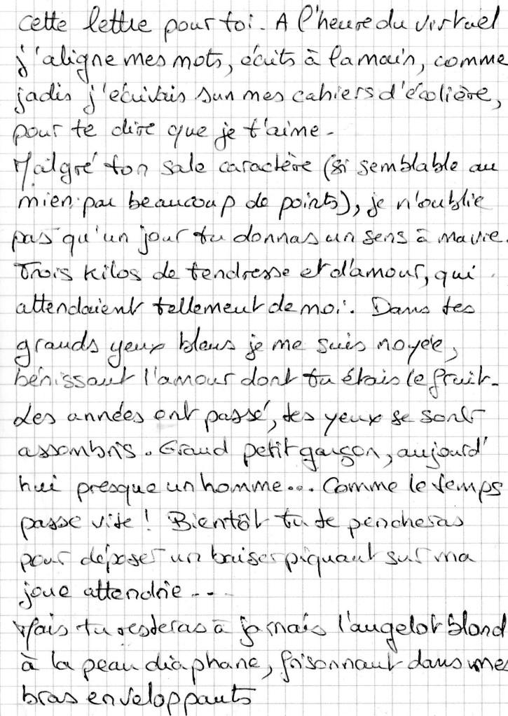 Lettre manuscrite à mon fils