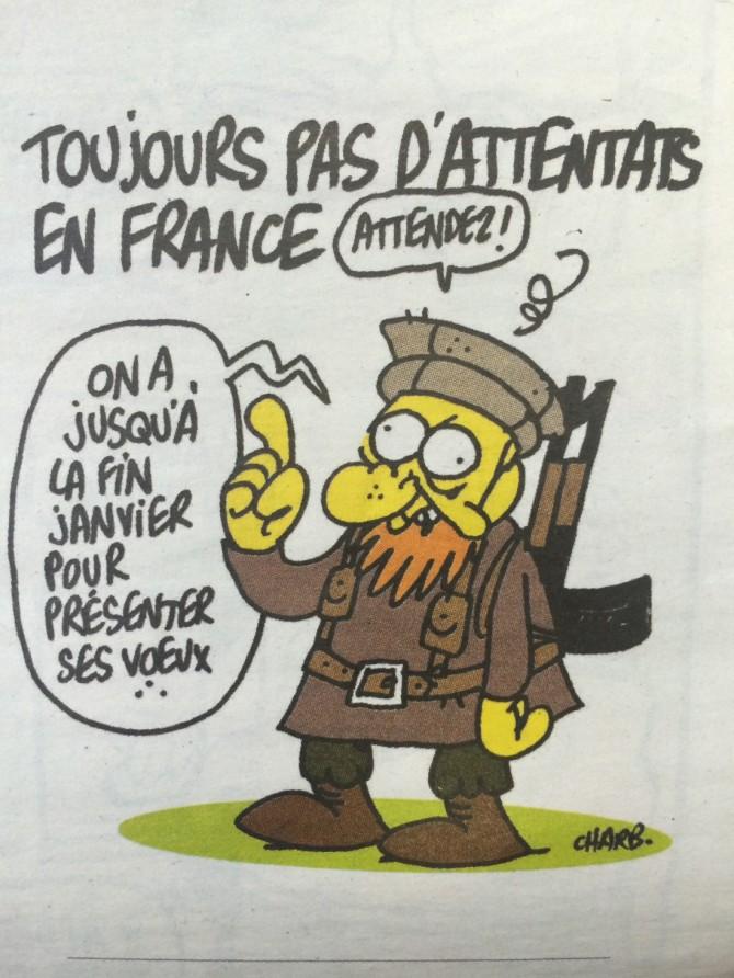 L'un des derniers dessins de Charb, dans l'éditions de Charlie Hebdo d'hier.