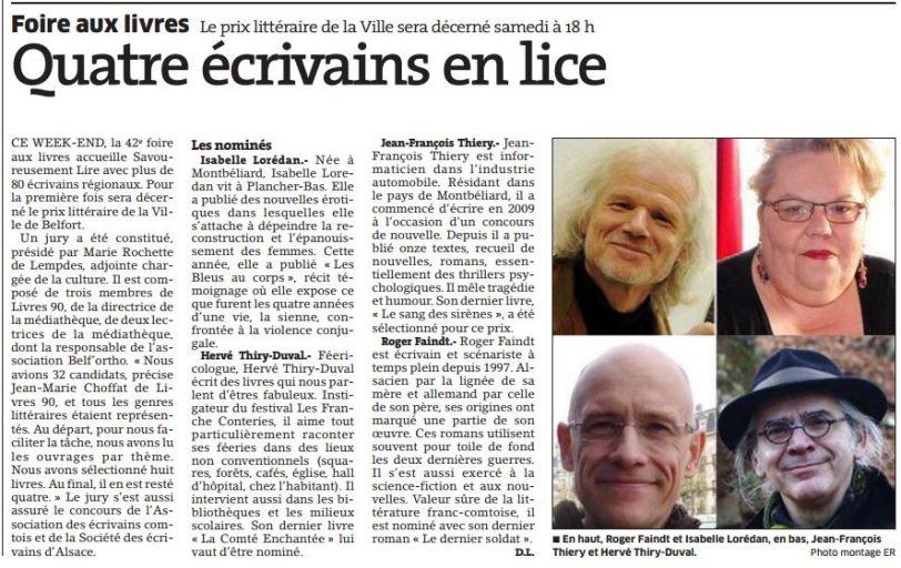 Quatre écrivains en lice - ER du 22 octobre 2015